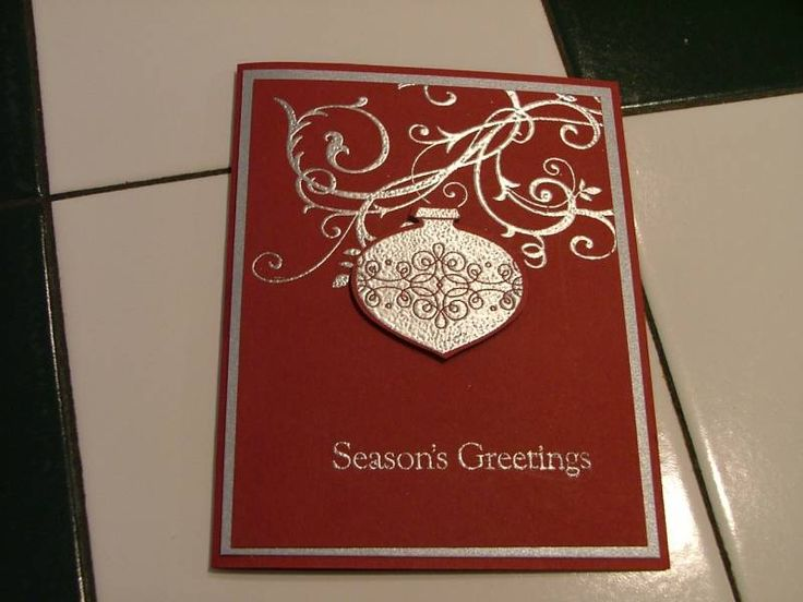 Stamps: Baroque Motifs, Tags 'till Christmas, Four the Holidays   Paper: Cherry Cobbler, Brushed Silver   Ink: Versamark   Accessories: Ornament Punch, Silver Embossing Powder