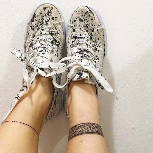 ankle lace and line band tattoo ayak bileği dantel ve çizgi dövmesi