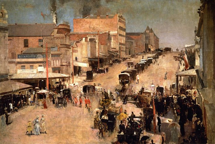 Bourke St. West by Tom Roberts The painting depicts the western end of Bourke Street, one of the main thoroughfares in Melbourne as seen from the Buckley & Nunn drapery. 1886