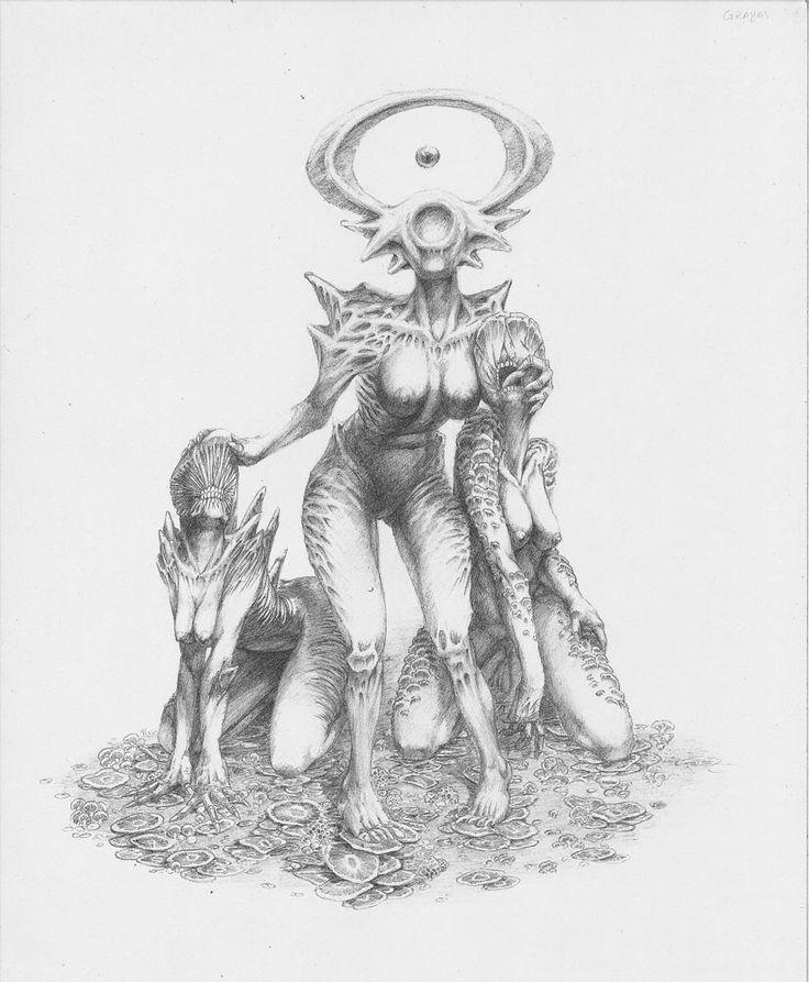 Free representation of the Graeae, the witches that share an eye and were visited for Perseus, on his way to defeat Medusa. ---- Representación libre de las Grayas, las tres brujas que compartían un ojo y que fueron visitadas por Perseo en su camino a derrotar a medusa.