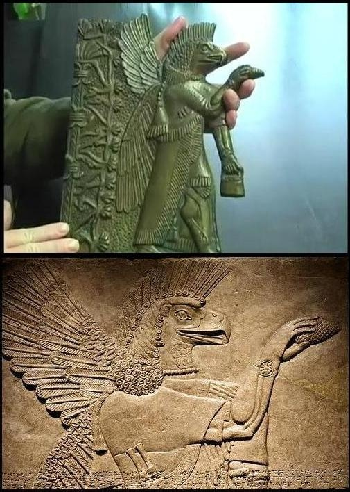Assyrian God with eagle head and feathered headdress offering a pine cone.