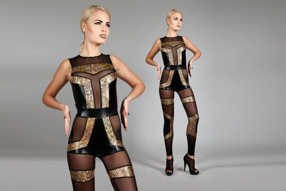 Futuristic Spandex Catsuit, Geometric Leotard, Sexy Holographic Gold, Black & Sheer Jumpsuit, Unique Stage Outfit, Art Deco, by LENA QUIST
