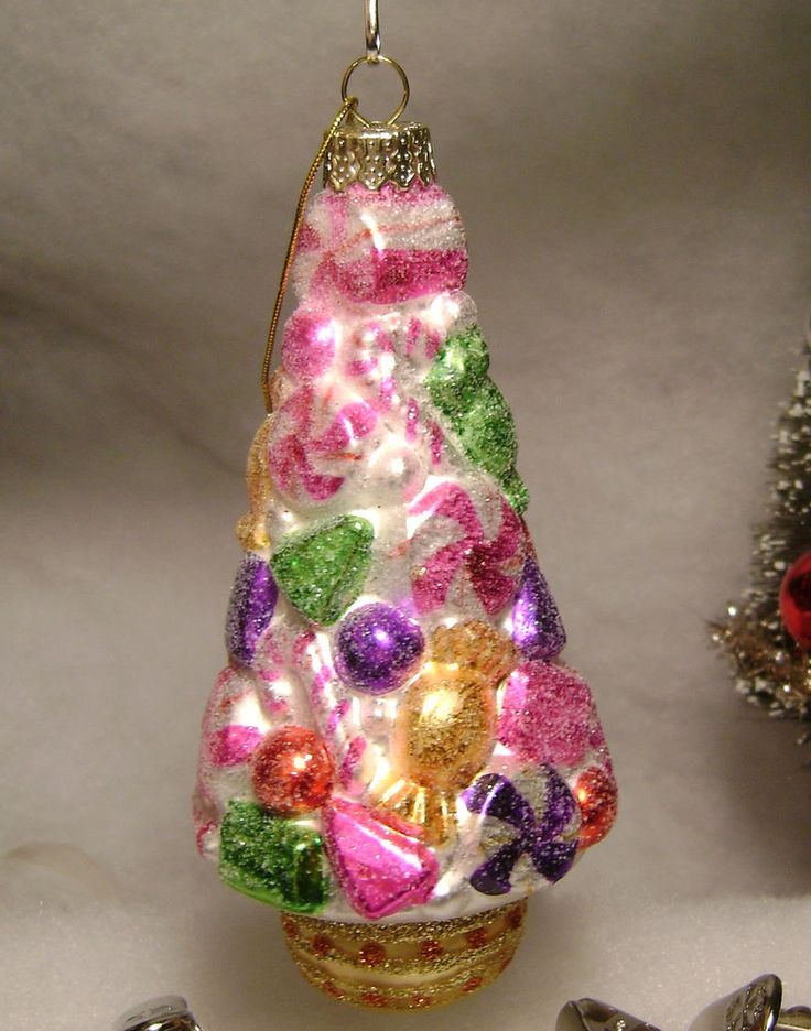 Pink Glass Peppermint candy Christmas tree ornament ...