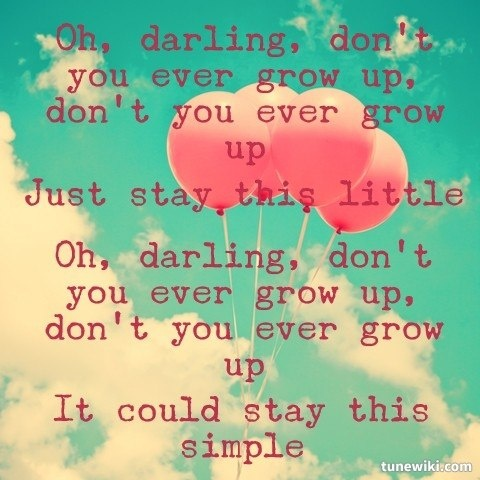 Never Grow Up by Taylor Swift! Love this song especially now!:))