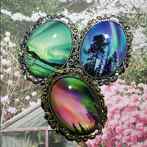 Amazing customer pic of purchased Northern Lights brooches.