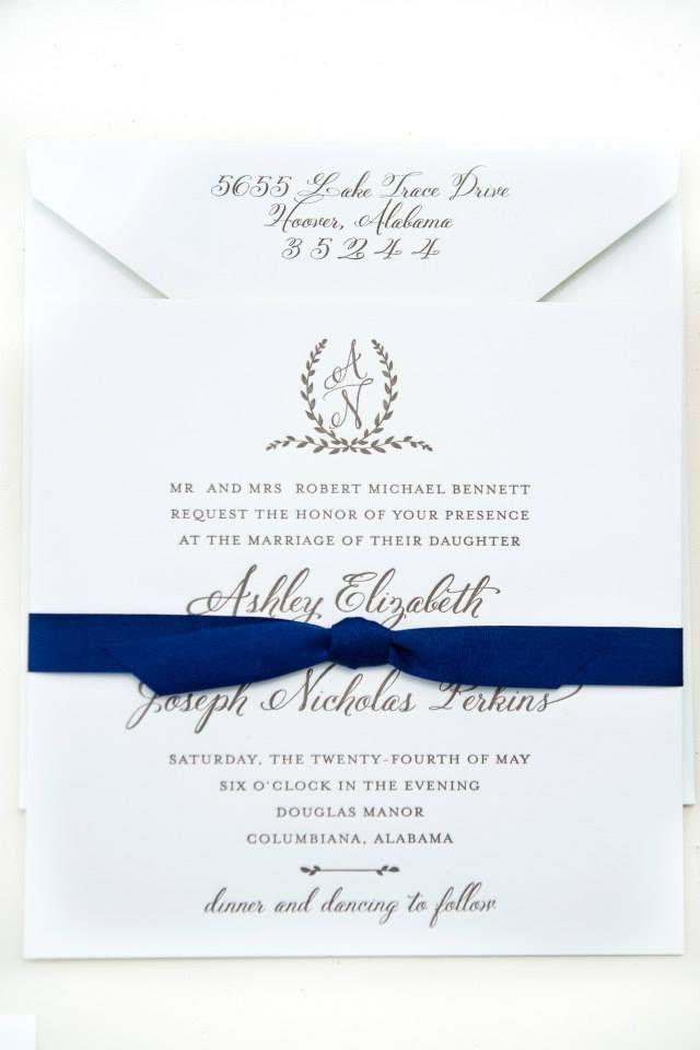 Blue and white wedding invitation M Elizabeth