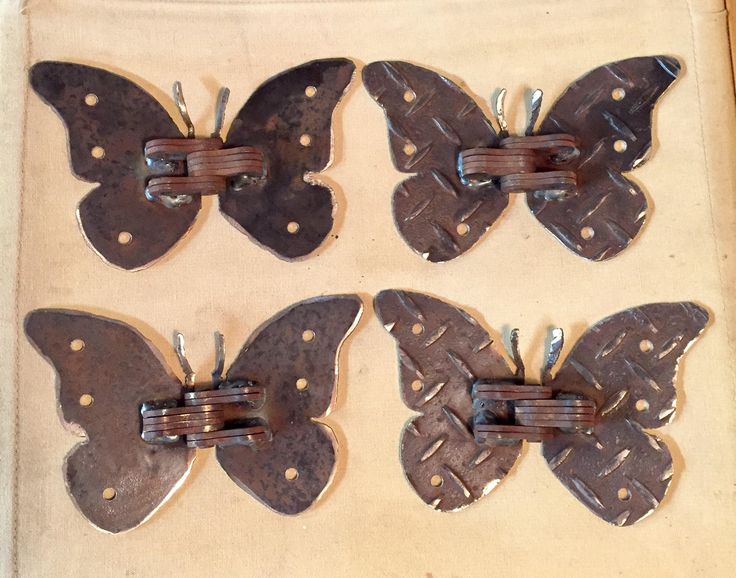 One Pair Handcrafted Steel Butterfly Schmetterling Hinges diamond plate rust butterflies by birdswithglasses on Etsy