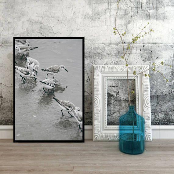 Birds on beach digital download ocean wall art in the water
