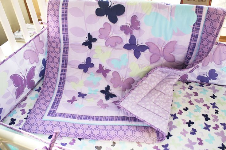 butterfly baby shower theme | Baby Bedding Crib Cot Sets - Purple Butterfly Theme. Brand New Design ...