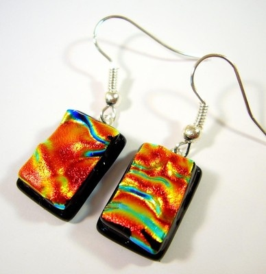 Beautiful Drop Dangly Genuine Dichroic Glass Sculptured Earrings