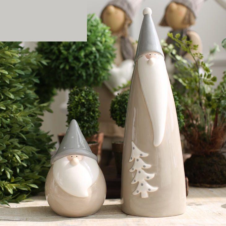 Aimable porcelaine abstraite père noël Figurine paire céramique Christams cadeau table artisanat ornement accessoires décoration(China (Mainland))