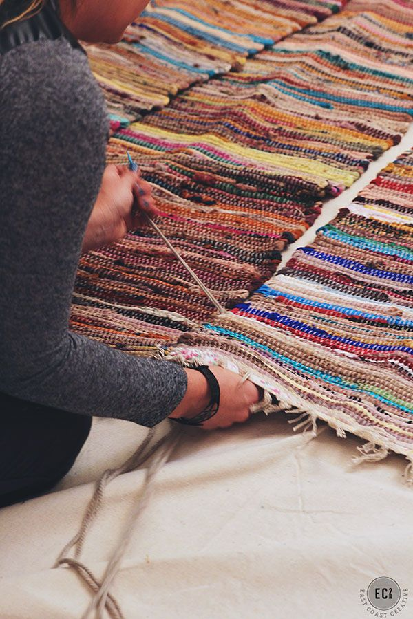 Make little rag rugs into a big rag rug! Super easy and cheap.