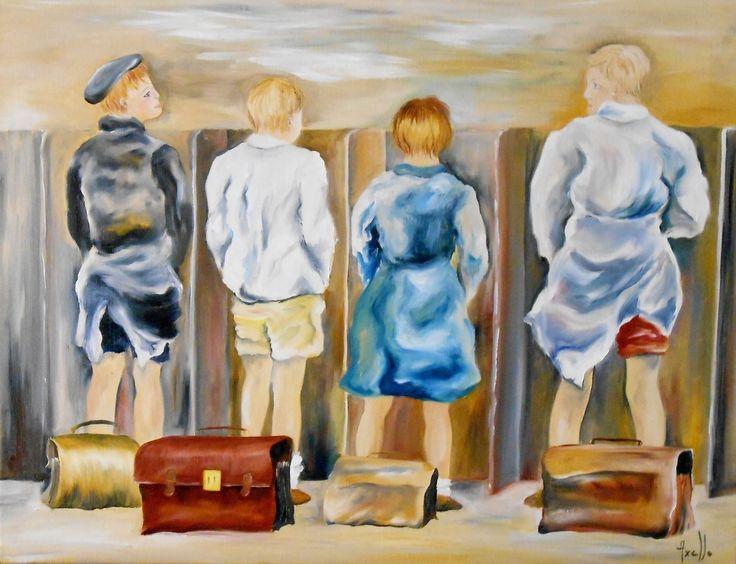Tableau de quatre jeunes garçons dans des latrines d'antan @peintures-axelle-bosler : Peintures par peintures-axelle-bosler