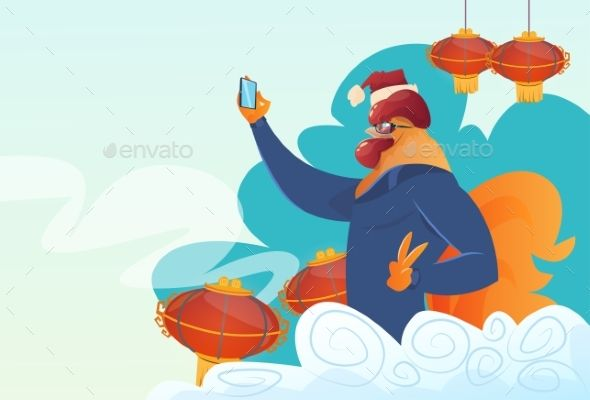 Cartoon Rooster Hipster Making Selfie Photo by prostockstudio Cartoon Rooster Hipster Making Selfie Photo On Smart Phone Happy 2017 New Year Symbol Flat Vector Illustration