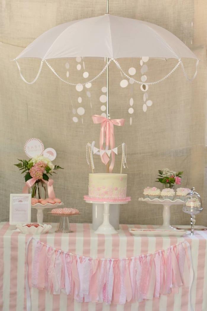 Sombrilla para decorar mesa de postres con cadenas de cuentas para baby shower. #DecoracionBabyShower