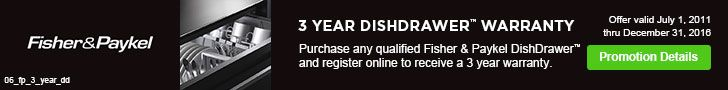 Buy any qualified Fisher & Paykel dishwasher and register online to receive a 3-year warranty. Offer valid through 12/31/2016. See details: http://www.bobmillers.com/promotions/promos