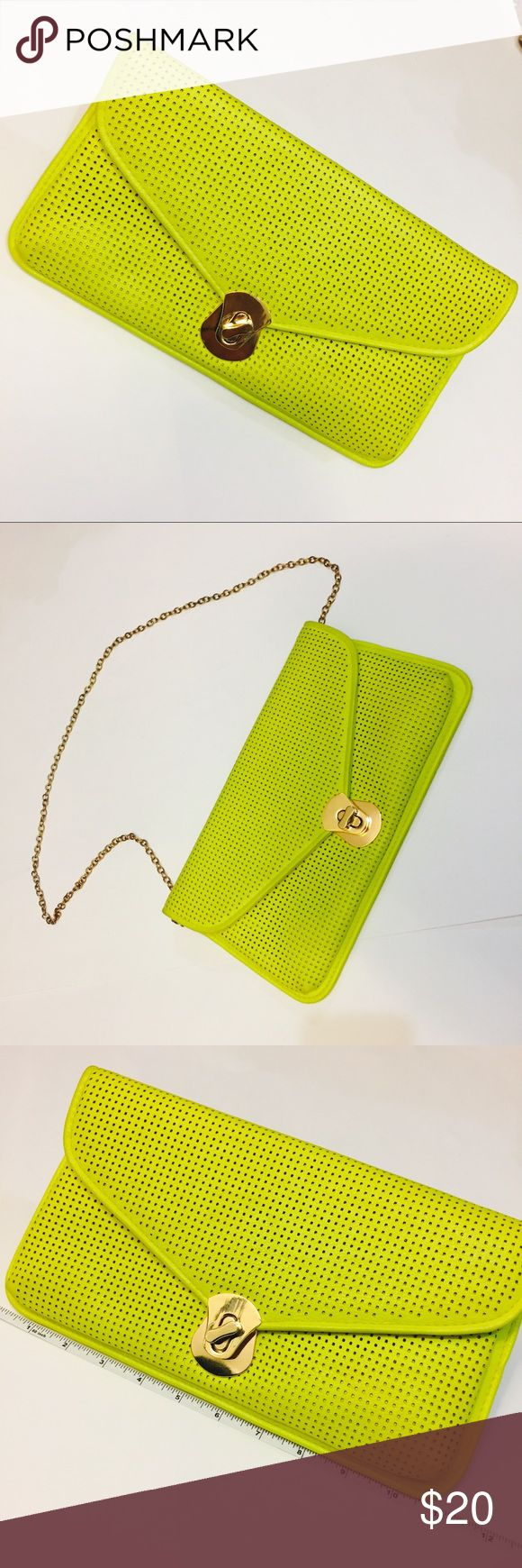 Highlighter Neon Green Yellow Clutch with Strap Highlighter Neon Green Yellow Clutch with Strap Bags