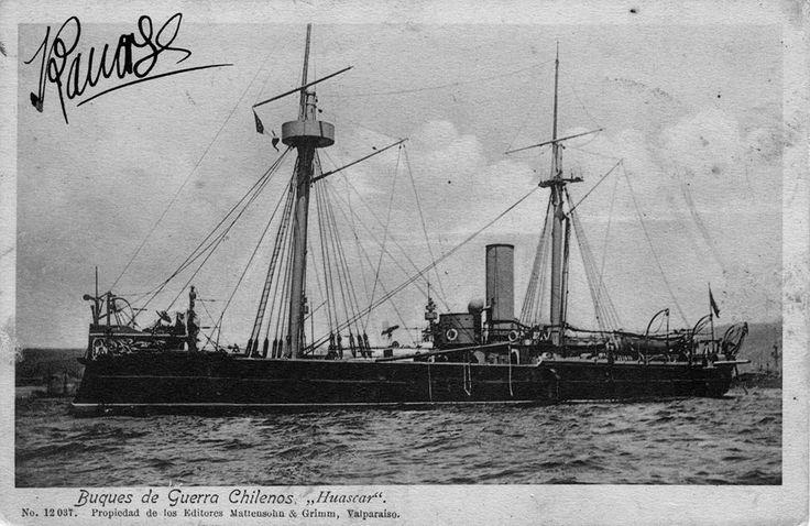 Vista del Monitor Huascar, a la llegada en Puerto chileno posterior a su captura en la Batalla de Angamos
