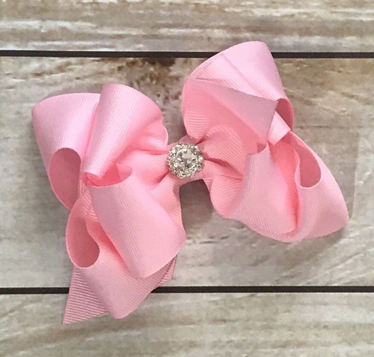 """Pink Hairbow Boutique Bow Easter Dressy Flower Girl Large Bow 5"""" Rhinestone Bow    eBay"""