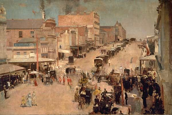 Allegro Con Brio, Bourke St. West by Tom Roberts.  Painted in Melbourne, c.1885-86 & 1890.   National Library of Australia & National Gallery Australia, Canberra.  Purchased 1920.