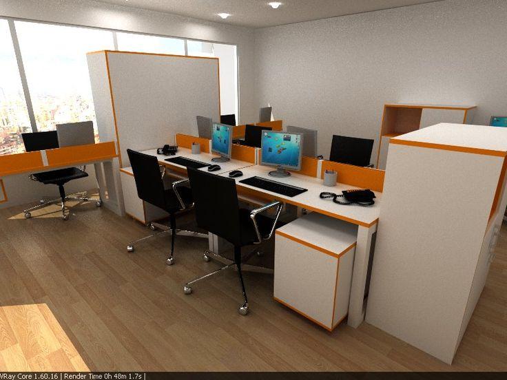 Estaciones para planta abierta con separadores de ambientes, cajoneras y gabinetes.