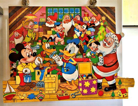 vintage disney pop up advent calendar unused in good. Black Bedroom Furniture Sets. Home Design Ideas