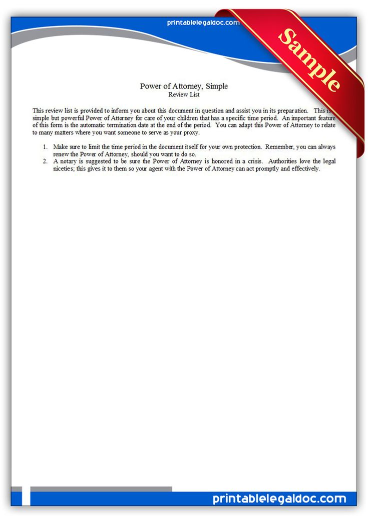 Free Printable Power Of Attorney Simple Legal Forms
