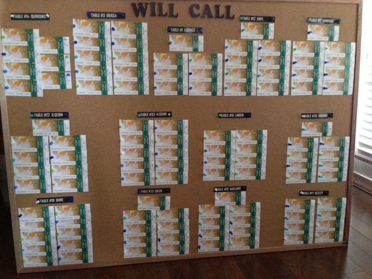 Will call ticket board for guest seating hockey/Canucks themed wedding #hockey #wedding #seatingchart