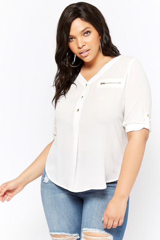6699ce79207c4 Plus Size Textured Button-Front Top Color  White or Black Size  3x ...