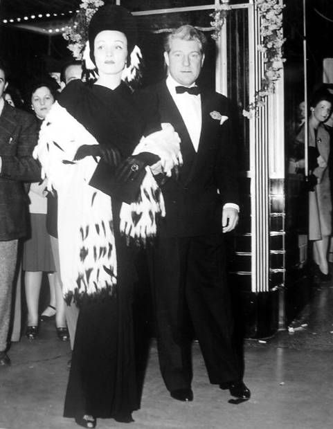 Marlene Dietrich and Jean Gabin arrive at the Sundown premiere. October, 1941
