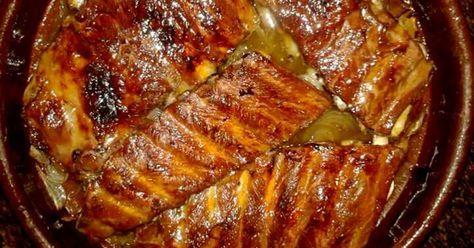 Fabulosa receta para Costillas de cerdo asadas con miel.