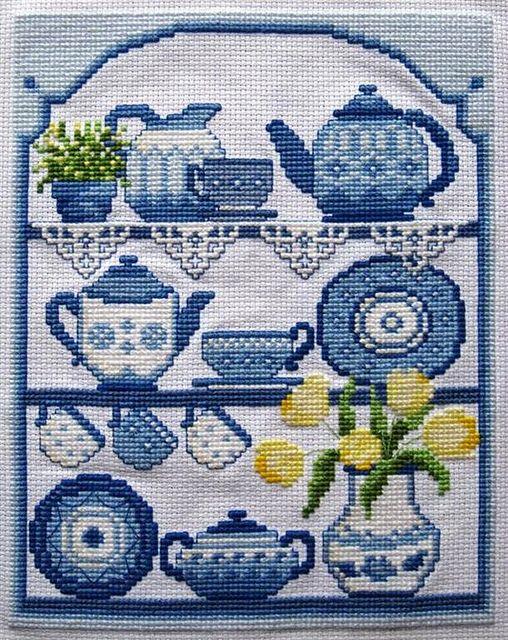 Blue China Cross Stitch by sallysetsforth, via Flickr