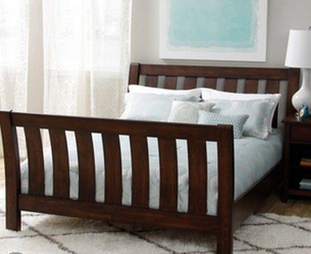Queen Size Headboard Bed Frame Dark Chocolate Wooden Bedroom Furniture  Bedding