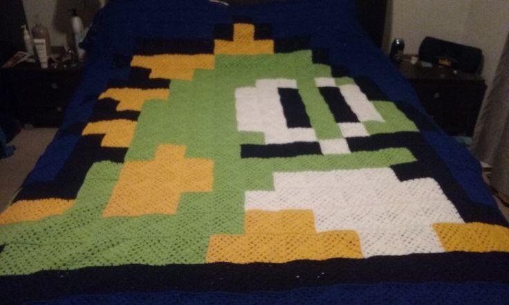 8 bit crochet blanket Bubble & Bobble