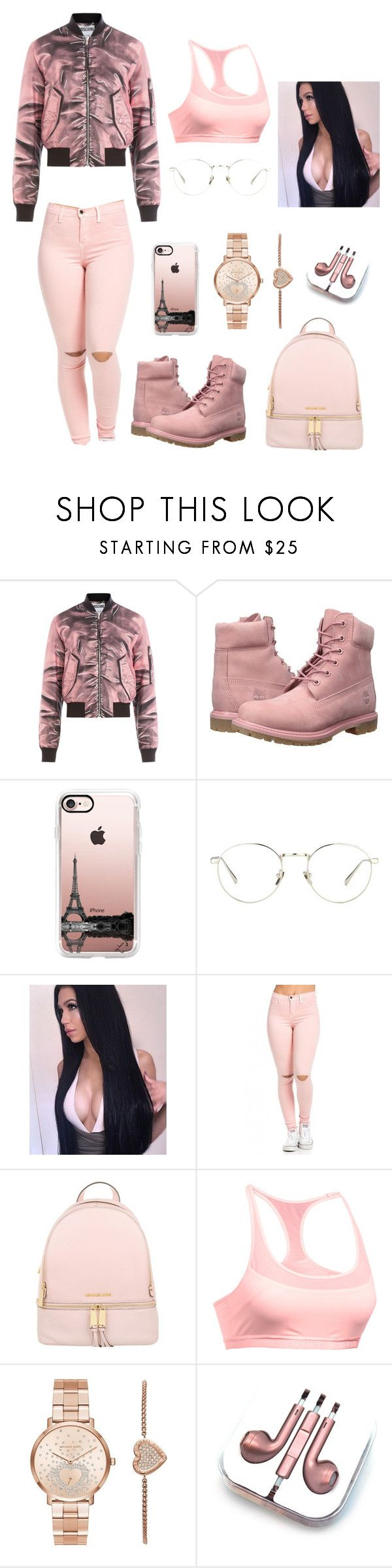 """Rose Gold "" by nerdyswaggs ❤ liked on Polyvore featuring Moschino, Timberland, Casetify, Linda Farrow, MICHAEL Michael Kors, Under Armour, Michael Kors and PhunkeeTree"