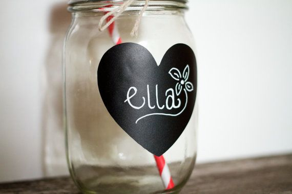 12 Heart Mason Jar Chalkboard Label Featured on Etsy Wedding Trends Drink Labels Wedding Chalkboards Centerpieces