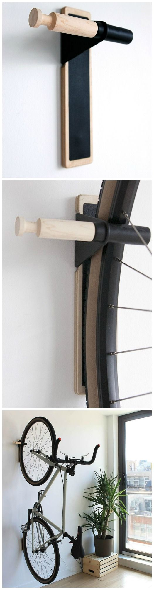 Lift Wooden Minimalist Bike Hook. Simple, clean and functional. #affiliate