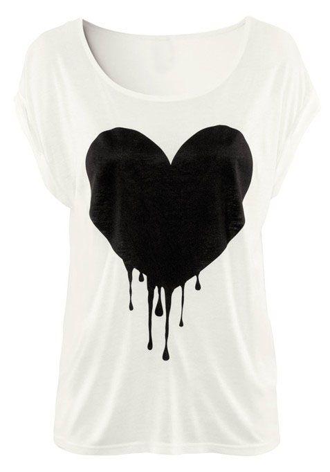 White Short Sleeve Drop Heart Print T-Shirt