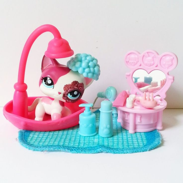 Littlest Pet Shop Short Hair Cat Pink Sparkle Glitter 2291 LOOSE Toy Variant HTF #Hasbro