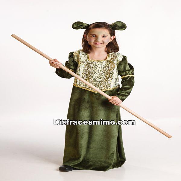 DisfracesMimo, disfraz de fiona barata para niña infantil 3 a 4 años.es perfecto para convertirte  en la princesa Fiona hija de shrek.Este disfraz es ideal para tus fiestas temáticas de disfraces de personajes de television infantiles.