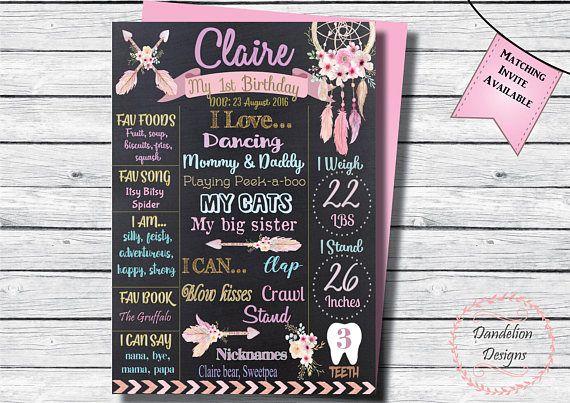 Boho 1st birthday Dream catcher chalkboard Boho party