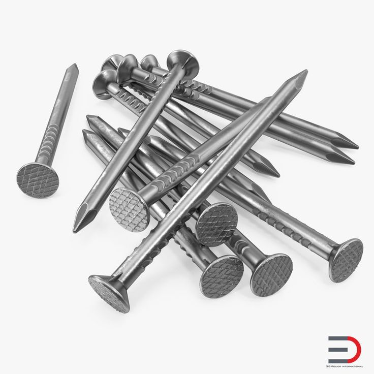 Heap of Metal Steel Nails 3D model