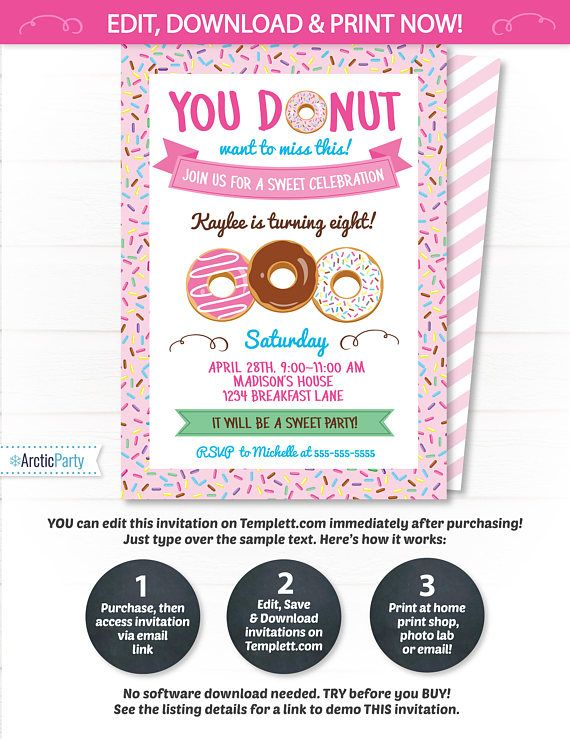 Donut Party Invitations  Donut Themed Party Invitation