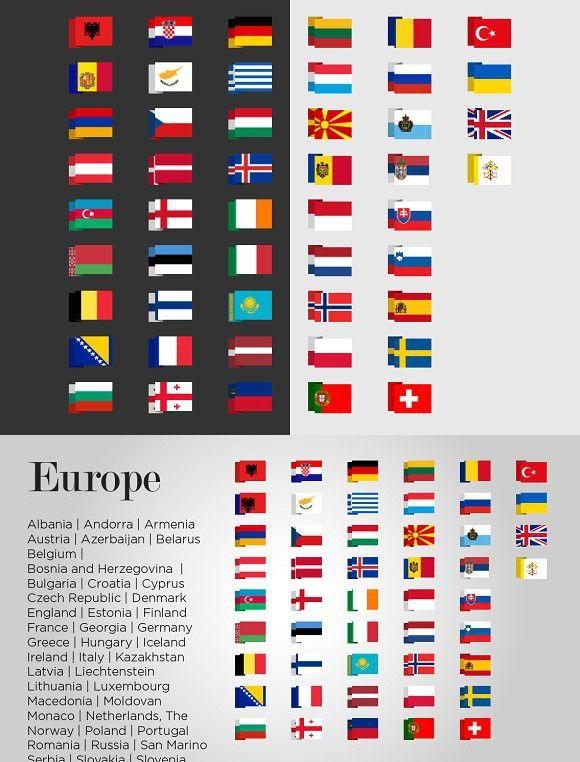 Europe 49 Flags. Europe #flags