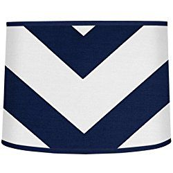 Navy Blue and White Chevron ZigZag Lamp Shade by Sweet Jojo Designs