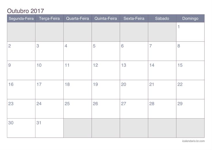 Calendário de outubro 2017 - office