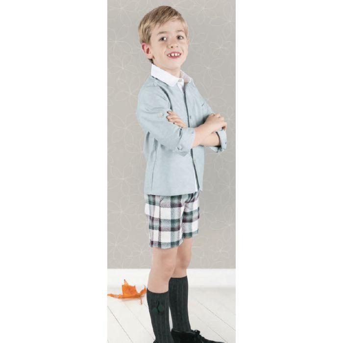 Conjunto niño pantalón corto cuadros verdes\/morados y camisa verde Pantalón: 45% poliéster 45% lana Ref. 12819- 12820 Marca: Basmarti Temporada: Otoño \/ Invierno