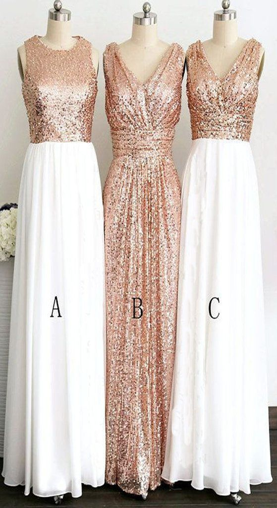 Rose Gold Long Elegant Pretty White Chiffon Charming Bridesmaid Dress