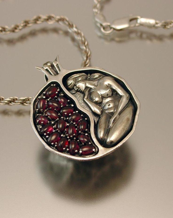 JUICY POMEGRANATE silver garnet pendant. $400.00, via Etsy.