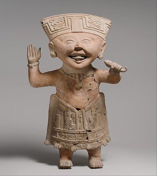 "MEXICO   ""Smiling"" Figure, 7th–8th century. Mexico, Mesoamerica, Veracruz. The Metropolitan Museum of Art, New York.The Michael C. Rockefeller Memorial Collection, Bequest of Nelson A. Rockefeller, 1979 (1979.206.1211) #WorldCup"
